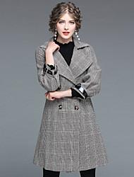 cheap -EWUS Women's Daily Work Street chic Winter Fall Coat,Print Shirt Collar Long Sleeves Long 100% Polyester Formal Style