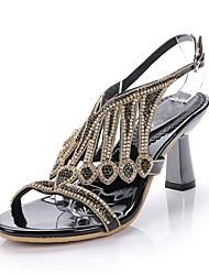 abordables -Mujer Zapatos Poliuretano Primavera / Verano Botas de Moda Sandalias Puntera abierta Pedrería / Cristal / Purpurina Dorado / Negro / Plata