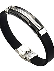 cheap -Men's Women's Link Bracelet , Classic Leather Stainless Line Jewelry Daily Costume Jewelry Black