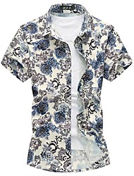 cheap -Men's Daily Plus Size Sexy Autumn Summer Shirt,Floral Square Neck Short Sleeves Cotton Medium
