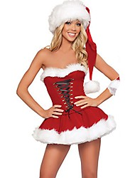 Santa Suit Mrs.Claus Costume Outfit Female Christmas Festival / Holiday Halloween Costumes Red Solid Holiday Christmas