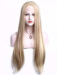 cheap -Synthetic Lace Front Wig Straight Blonde With Baby Hair Synthetic Hair Highlighted / Balayage Hair Blonde Wig Women's Long Lace Front