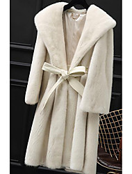 cheap -Women's Going out Street chic Sophisticated Winter Fur Coat,Solid Hooded Long Sleeves Long Faux Fur PU Raccoon Fur