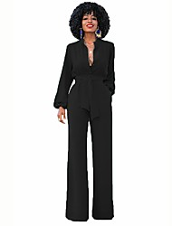cheap -Women's Party Work Casual Solid V Neck Jumpsuits
