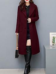 Недорогие -Для женщин Повседневные Зима Осень Пальто Острый,Простой На каждый день Однотонный Обычная Длинный рукав,Полиэстер,Стильные