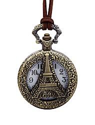 baratos -Homens Relógio de Bolso Relógio Esqueleto Chinês Quartzo Mostrador Grande Couro Banda Vintage Torre Eiffel Marrom