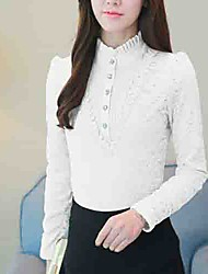 cheap -Women's Daily Going out Cute Winter Fall Blouse,Solid Stand Long Sleeves Cotton Polyester Thick