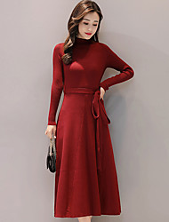 cheap -Women's Daily Work Boho Sheath Swing Dress,Solid Stand Midi Long Sleeves Others Winter Fall/Autumn Mid Rise Stretchy Medium