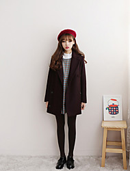 cheap -Women's Daily Simple Casual Winter Fall Coat,Solid Shirt Collar Long Sleeves Long Wool Cotton