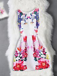 baratos -Menina de Vestido Aniversário Para Noite Sólido Floral Jacquard Algodão Poliéster Sem Manga Fofo Casual Princesa Vermelho