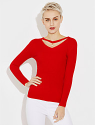 cheap -Women's Long Sleeves Pullover - Solid V Neck
