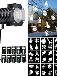 cheap -Christmas Light Projector Indoor Outdoor Halloween Rotating Night Light Projector Snowflake Spotlight 10 Slides White Dynamic Lighting Landscape Led