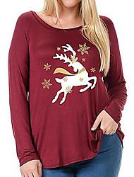 Women's Others Street chic T-shirt,Print Round Neck Long Sleeves Polyester