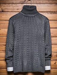 Lungo Pullover Da uomo-Per uscire Casual Tinta unita Dolcevita Manica lunga Poliestere Inverno Autunno Spesso Media elasticità
