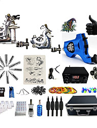 cheap -Professional Tattoo Kit 2 steel machine liner & shader 1 rotary machine liner & shader 3 Silver Navy Blue Tattoo Machine Inks Not Included