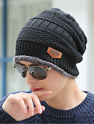 cheap -Men's Sweater Floppy Hat,Work Casual Solid Winter Sporty Knitted Black