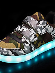 cheap -Boys' Shoes Breathable Mesh Leatherette Fall Winter Light Up Shoes Comfort Light Soles Sneakers Magic Tape LED For Casual Army Green