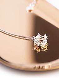 Mulheres Gargantilhas Colares com Pendentes Zircônia Cubica Formato Coroa Zircão Doce Elegant Jóias Para Diário Para Noite