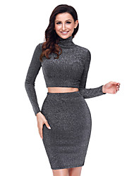 cheap -Women's Party Going out Casual Fall/Autumn T-Shirt Skirt Suits,Solid Round Neck Long Sleeves Elastane Terylene