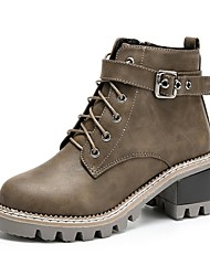 cheap -Women's Shoes PU Winter Combat Boots Boots Round Toe Mid-Calf Boots For Casual Khaki