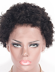 cheap -Women Human Hair Lace Wig Brazilian Human Hair Lace Front 130% Density Kinky Curly Afro Jerry Curl Curly Afro Kinky Wig Black Short