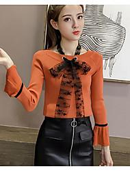 economico -Standard Pullover Da donna-Casual Tinta unita Rotonda Manica lunga Lana Poliestere Autunno Medio spessore Media elasticità