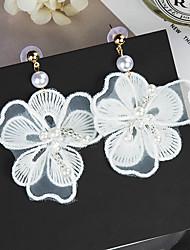 baratos -Mulheres Franjas / Lustres / Longas Brincos Compridos - Florais / Botânicos, Flor Doce, Fashion Branco Para Diário