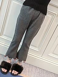 abordables -Pantalones Chica Un Color Algodón Invierno Bonito Gris