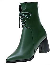 Недорогие -Для женщин Обувь Полиуретан Весна Осень Удобная обувь Ботинки Назначение Черный Зеленый