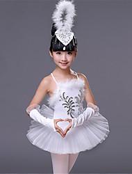 Ballet Tenue Enfant Spectacle Spandex Plumes / Fourrure Paillette Sans manche Taille haute Robes Manche Coiffures
