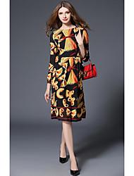 cheap -Women's Work Chiffon Dress,Print Round Neck Knee-length Long Sleeves Polyester Mid Rise Inelastic Medium