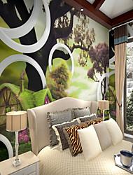 Árvores/Folhas Padrão 3D Papel de Parede Para Casa Rústico Revestimento de paredes , Tela Material adesivo necessário Mural , Cobertura