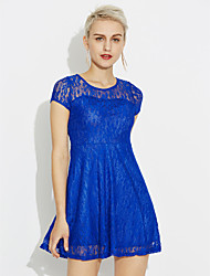 cheap -Women's Plus Size Going out Cotton A Line Dress - Solid Colored Blue, Lace High Rise / Summer