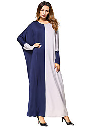 cheap -Women's Daily Loose Dress,Color Block Round Neck Maxi Long Sleeve Cotton Spring Fall Mid Rise Micro-elastic Thin