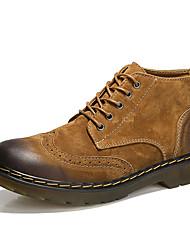baratos -Homens sapatos Couro de Porco Inverno Outono Coturnos Conforto Botas Botas Cano Médio para Casual Escritório e Carreira Cinzento Marron