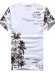 cheap -Men's Daily Plus Size Chinoiserie Autumn Summer T-shirt,Print V Neck Short Sleeves Cotton Spandex Medium