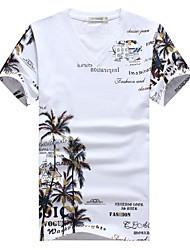 abordables -Hombre Tejido Oriental Casual/Diario Tallas Grandes Otoño Verano Camiseta,Escote en Pico Estampado Manga Corta Algodón Licra Medio