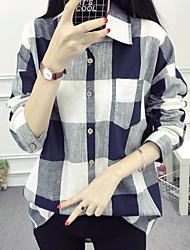 cheap -Women's Daily Cute Shirt,Color Block Stand Long Sleeves Linen