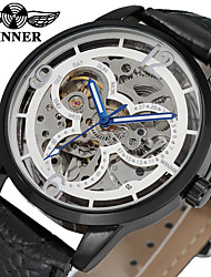 WINNER Homens Relógio Elegante Relógio de Pulso relógio mecânico Automático - da corda automáticamente Gravação Oca Couro Banda Vintage