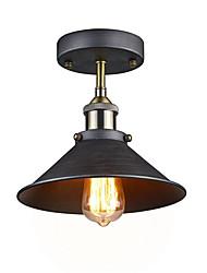 cheap -Silver Gray Industrial Ceiling Light Semi Flush Vintage Metal 1-Light Pendant Lighting Shade Chandelier Diameter 26cm