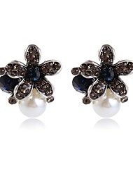 Women's Stud Earrings Floral Sweet Imitation Pearl Alloy Jewelry For Other Ceremony