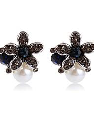 Femme Boucles d'oreille goujon Fleur Doux Imitation de perle Alliage Bijoux Pour Autre Cérémonie