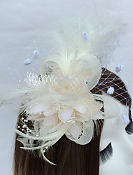 cheap -Tulle Feather Headpiece-Wedding Party/ Evening Fascinators Flowers Birdcage Veils 1 Piece