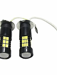 2PCS Ultra White Bright Lightness 3014 54SMD H3 LED Fog Light Bulb for VW Toyota Hyundai Nissan