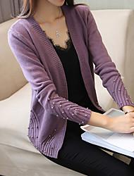 Women's Daily Wear Regular Cardigan,Solid V Neck Long Sleeves Acrylic Autumn Medium Stretchy