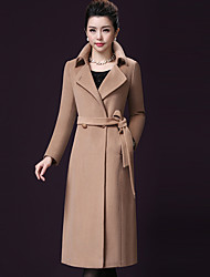 cheap -Women's Going out Plus Size Simple Casual Winter Fall Coat,Solid Peter Pan Collar Long Sleeves Long Wool