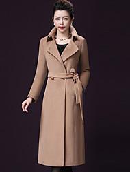 preiswerte -Damen Solide Einfach Ausgehen Übergröße Mantel,Peter Pan-Kragen Herbst Winter Langarm Lang Wolle