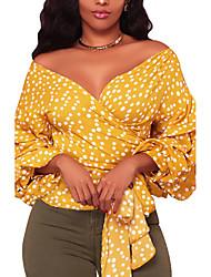 economico -T-shirt Da donna Per uscire Casual Sensuale Moda città Primavera Autunno,A pois A V Poliestere Manica a 3/4 Medio spessore
