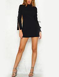 Moulante Robe Femme Vacances Sortie Décontracté / Quotidien Couleur Pleine Col Roulé Mini Manches Longues Polyester Taille Haute Non