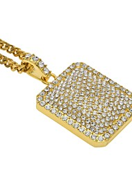 cheap -Men's Women's Rhinestone Sticky Rhinestones Pendant Necklace  -  Hip-Hop Rock Triangle Gold Silver Necklace For Stage Club